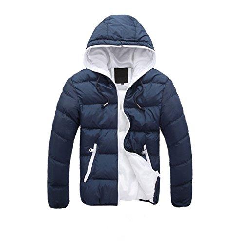 Navy cotton coat white XL Men's suits down men's Blue size plus with wadded jacket Hooded men xqwqz0BPU6