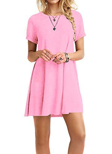 MOLERANI Women's Casual Plain Short Sleeve Simple T-Shirt Loose Floral Dress New Pink -