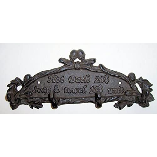 "Wholesale ""ABC Products"" - Heavy Cast Iron Sign - With 4 Hanging Hook - With The Words ""Hot Bath 25$ - Soap & Towel 10$ Unit"" - Wall Hanging - (Bronze Rustic Finish - Accented With Vines And Acorns)"