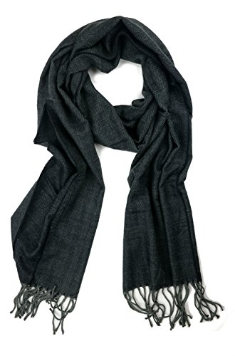 Plum Feathers Super Soft Luxurious Cashmere Feel Winter Scarf (Black-Grey Herringbone) by Plum Feathers