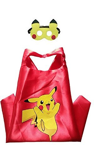 Pokemon Red Character Costume (Dress Up Comics Cartoon Superhero Costume with Satin Cape and Matching Felt Mask (Pokemon - Pikachu in Red))