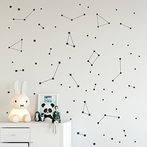 Black constellation wall decal, Space stickers, Removable vinyl nursery decals, Milky Way stars - 96 pcs