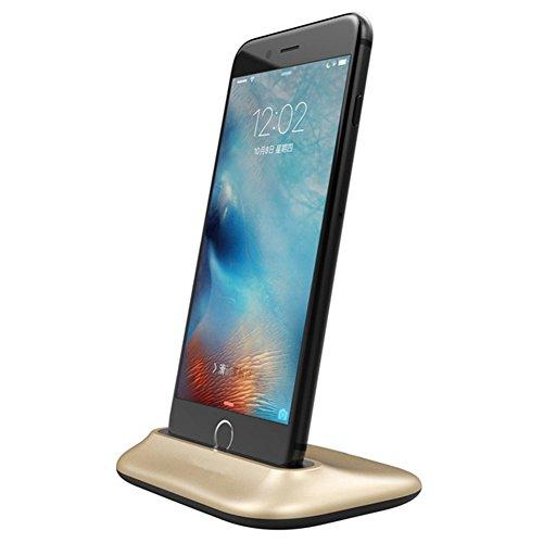(Efanr iPhone Charger Dock, Aluminum 2.4A Max Lightning Data Sync Desktop Stand Charging Cradle Dock Station Holder for iPhone 8 8 Plus 7 7 Plus SE 6S 6 6S Plus 6 Plus 5s 5 5c (Gold))