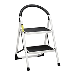 Ollieroo Step Stool EN131 Steel Folding 2 Step Ladder with Comfy Grip Handle Anti-slip Step Mon-marring Feet 330-pound Capacity White