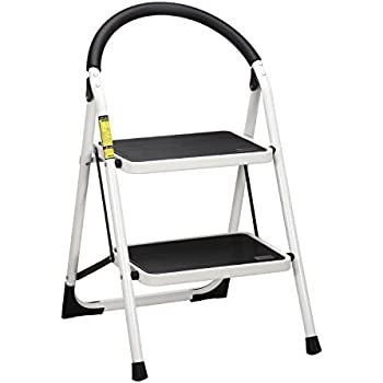 Ollieroo Ladder EN131 Steel Folding 2 Step Stool With Comfy Grip Handle  Anti Slip Step