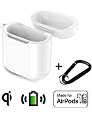 Airpods Case - Wireless Charging hülle für Airpods, Kompatibel mit Jedem QI kabelloses Ladegerät, Schützende Hülle Airpods zubehör -Weiß