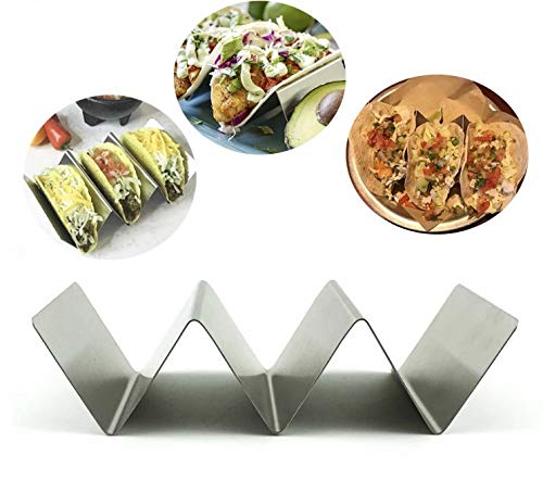 Dishwasher Safe Grill Soft//Hard Taco Holder Oven TR3MARK Taco Holder Stand Rack Metal 2 Pack Bundle w// 2 Salsa//Guacamole Cups Premium Stainless Steel 2 and 3 Pocket