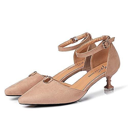 de Poliuretano Bomba Zapatos Almond de pie básicos Tacones Tacón Gatito Negro de Verano Mujer ZHZNVX Punta de Almendra del Desnudo PU qIdgOO0