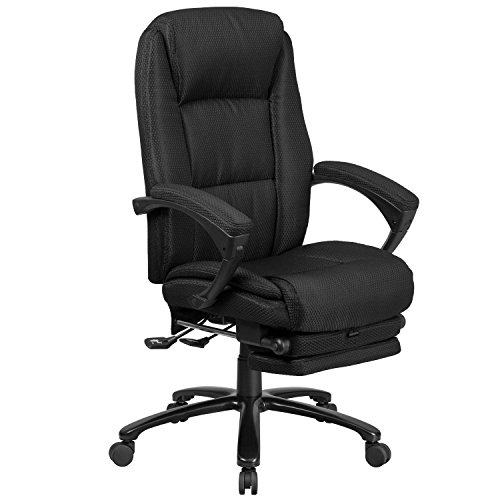 (Flash Furniture High Back Black Fabric Executive Reclining Swivel Office Chair with Comfort Coil Seat Springs and Padded Arms)