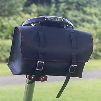 London Craftwork Gro/ß Fahrradtasche Sattel//Lenker//Rahmen Tasche Schwarz Leder Klassisch Tasche XL-BL
