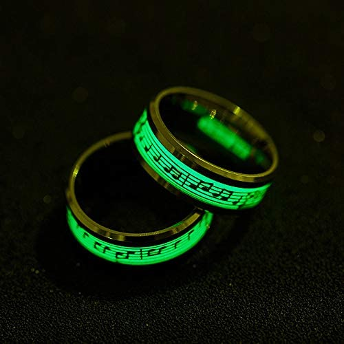 Haluoo Music Luminous Ring Punk Style Glow in The Dark Stainless Steel Wedding Band Ring Musical Note Fluorescence Personality Ring Comfort Fit