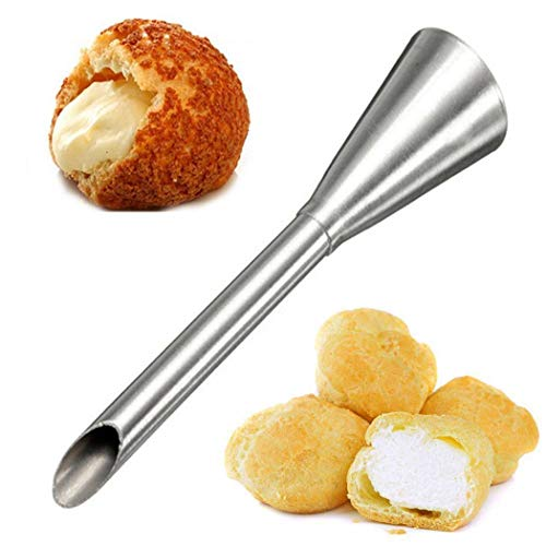 Puff Nozzle Bismark Metal Piping Tip, Cream Icing Piping Nozzle Tip Stainless Steel Long Puff Bakery Pastry Cake Decoration Baking Tool - Great for filling donuts cupcakes elclairs