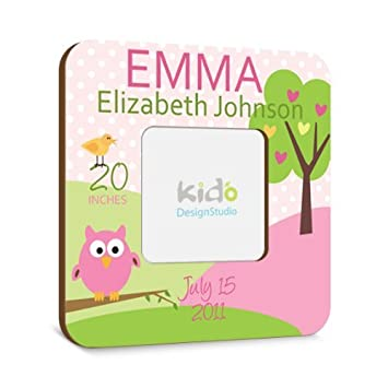 Amazon personalized baby girl picture frame with birth personalized baby girl picture frame with birth announcement pink and green nursery photo frame negle Choice Image