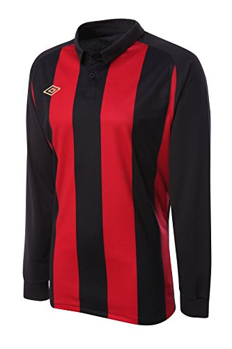Umbro Men's Long Sleeved Soccer Jersey Clifton Stripe XX-Large Red / - Embroidered Red Football Jersey