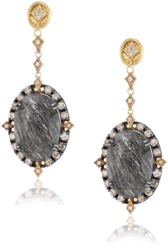 "Sara Weinstock ""Chandelier"" Black Rutilated Eternity Oval Earrings"