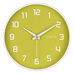 DecoMates Non-Ticking Silent Wall Clock, Green Fruity Key Lime