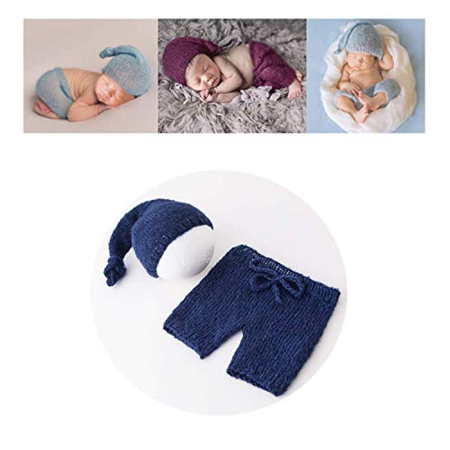 Vemonllas Fashion Cute Newborn Boy Girl Baby Costume Outfits Photography Props Hat Pants (Navy)
