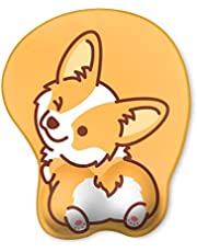 HAOCOO Ergonomic Mouse Pad with Wrist Support Non-Slip Backing Gel Mouse Pad Wrist Rest, Easy-Typing and Pain Relief for Gaming Office Computer Laptop (Yellow Cute Corgi)