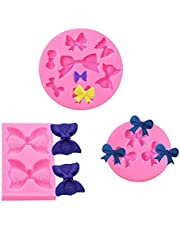 3 PCS Fondant Bow Mold, Wax Melt Molds Bow Silicone Mold Chocolate Candy Molds Decorative Bow Tie Silicone Mold Bowknot Sweet Molds Resin Ribbon Molds for Cake Decorating Baking Soap Sugar