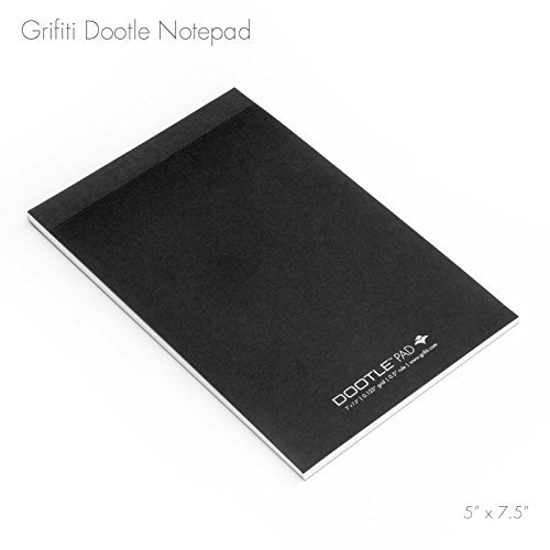 "Grifiti Dootle Pad 5"" X 7.5"" Mini Junior Legal 5 Pack Black Craft Cover Fits Dootle iPad Mini Folio Combination Blue 0.5"" Ruled and 0.125"" Grid Front Side and Blank Back Side Paper Notepad for Writing Notes, Drawing, Doodling"