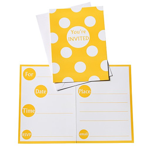 Yellow Polka Dot Party Invitations,