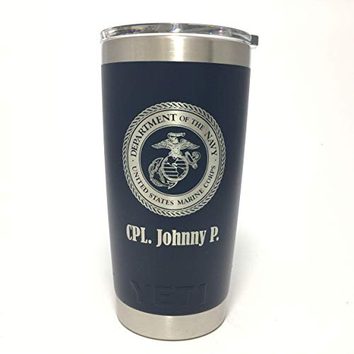 (YETI Rambler Laser Engraved with US Marine Corps Seal)