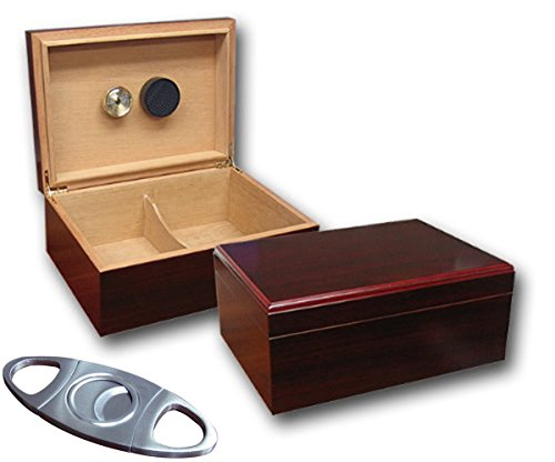 Prestige Import Group Executive Cherry Humidor with Free Guillotine Cutter