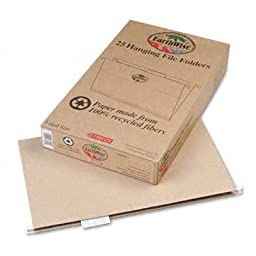 EarthWise by Pendaflex 100% Recycled Hanging File Folders, Legal Size, 1/5 Cut, Natural, 25 per Box (76542)