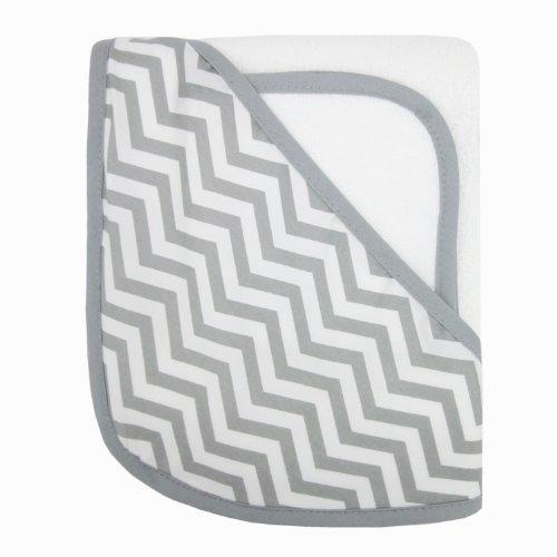 American Baby Company 100% coton biologique Terry capuche Serviette Set, gris blanc avec ZigZag