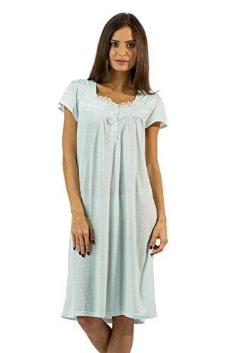 Lace Night Light (Casual Nights Women's Polka Dot Lace Short Sleeve Nightgown - Light Green - X-Large)