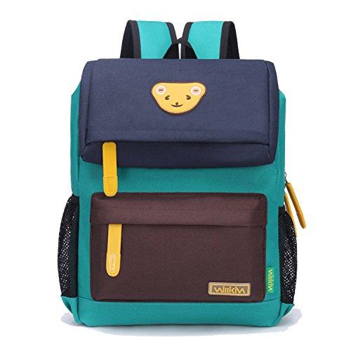 Willikiva Cute Bear Kids School Backpack for Children Elementary School Bags Girls Boys Bookbags (Dark Blue/Coffee/Green, Large)
