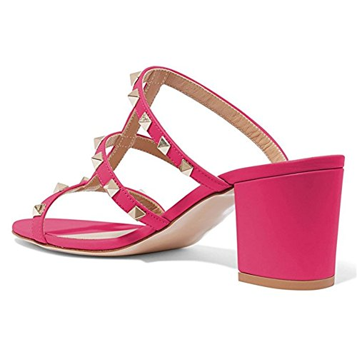Chunky con EU Rosa 35 Borchie per Slipper Donna Sandals Dress Caitlin Heel con 45 Mm Block Sandali Borchie 50 Mid Heels Open Toe Slide Pan 1xqwBn4Z5