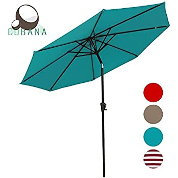 Perfect COBANA 9 Ft Aluminum Patio Umbrella Outdoor Table Umbrella With Push Button  Tilt And Crank, 8 Steel Ribs, 100% Polyester, Blue