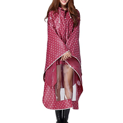 Zhhlaixing Unisex Motorcycle Waterproof Hooded Raincoat Rainwear Poncho 09-1 Red