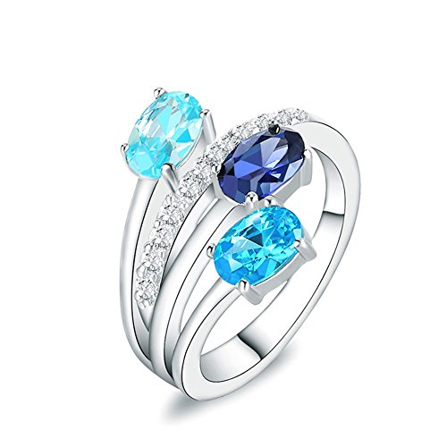 Colored Stone Ring - Mozume Three Stones Ring Channel Colorful Cubic Zirconia 925 Sterling Silver Swiss Blue Sky (5)