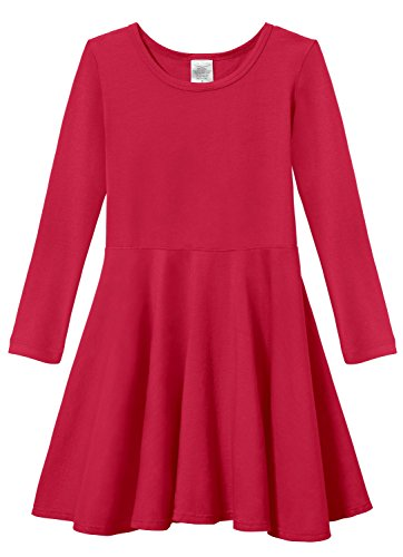 Candy Party Dress (City Threads Little Girls' Super Soft Cotton Long Sleeve Twirly Skater Party Dress, Candy Apple Red, 4)