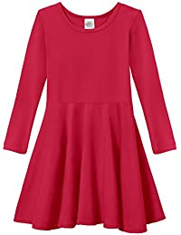 Girls Cotton Long Sleeve Twirly Skater Party Dress
