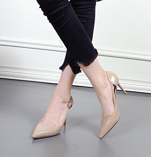 KHSKX-Polo Femenino Sexy Tacones Altos Zapatos De Cuero Hebilla De Correa Lado Hollow Superficial Boca Tacones De Aguja Nude color