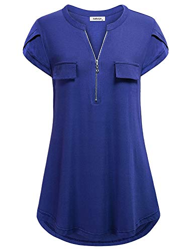 - AxByCzD Tunics for Women to Wear with Leggings,Juniors Aline Shirts Beauty Boutique Clothes Maternity Tops and Blouses V Neck with Fake Pockets Flowy Hem Clothing Plus Size Western Tshirt Blue XXL