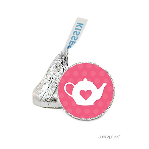 Andaz Press Chocolate Drop Labels Stickers Single, Baby Shower, Girl Tea Pot, 216-Pack, For Hershey's Kisses Party Favors, Gifts, Decorations, Birthday