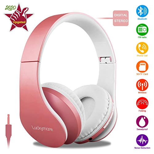 Wireless Bluetooth Headphone Over Ear, Headphones with Mic Noise Cancelling FM Radio Hi-Fi Stereo Headsets, Sports…
