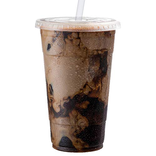 Clear Plastic Cups with Lids | 24 oz, 100 Pack | PET Cold Smoothie Cups | Iced Coffee Cups | Disposable Cups with Lids | To Go Cups