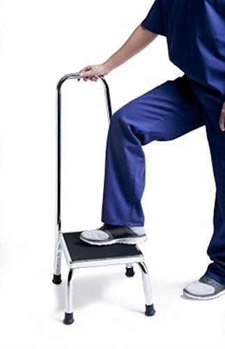 Pivit Heavy-Duty Chrome Plated Steel Step Stool with Stability Handle & Non-Slip Textured Matting | Elderly Fall Prevention Anti-Slip Platform Grips Slip-Resistant Feet | Lightweight Portable (Non Slip Textured Handle)