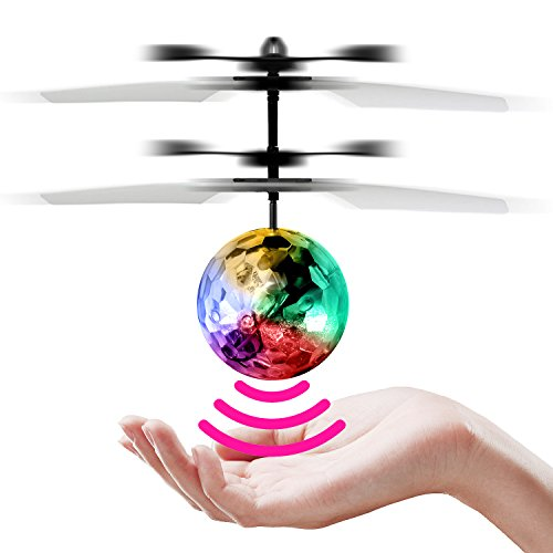 StillCool RC Flying Ball Children Flying Toys Infrared Induction Drone Hand Suspension Helicopter Ball Built-in Shinning LED Lights RC Toy for Children Kids Teenagers (Clear Ball)