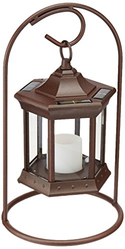 Fire Brown Clear Glass Pit - Starlite Garden and Patio Torche SLASCG Solar Lantern Arch Stand, Brown/Clear Glass