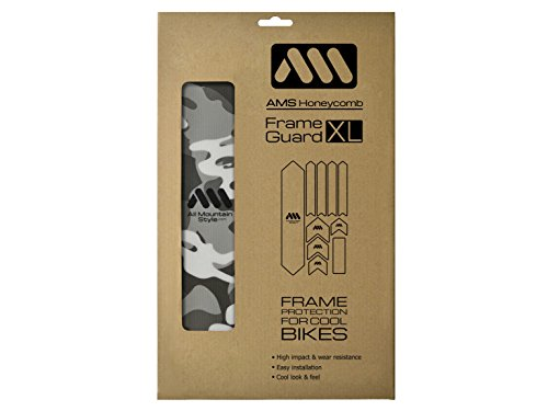 All Mountain Style AMSFG2CLCM Honeycomb High Impact Frame Guard XL - Protects Your Bike from Scratches and dings, Clear/Camo
