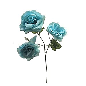 """25"""" Open Rose Spray Silk Wedding Flowers Home Party Decorations 3 Roses 7"""