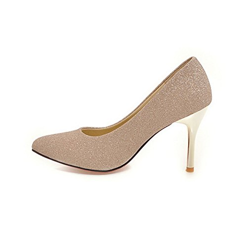 Gold Urethane Stilettos Uppers Low Pointed Toe BalaMasa Pumps Cut Ladies Spikes Shoes wHFnpFqZP