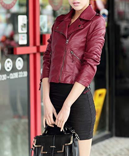 Giacca Lunga Outerwear Coat E Moda Pu Pelle Donna Da Di Giacche Autunno Con Tops Manica Rosso Zip Elegante Sottile Corto Jacket Cime Cappotto Primavera Vino Moto qzwBvtxq