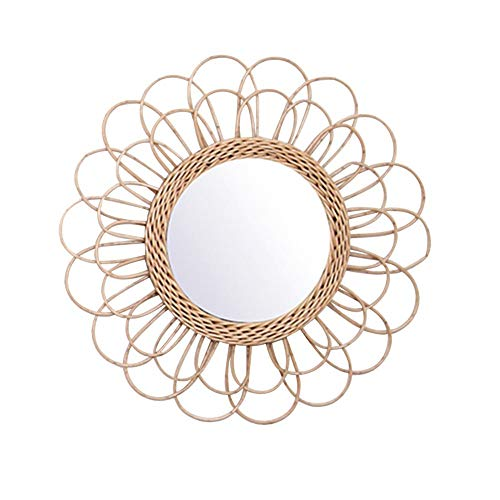 Creative Art Rattan Round Dressing Wall Hanging Mirror for Livingroom Kitchen Bathroom -